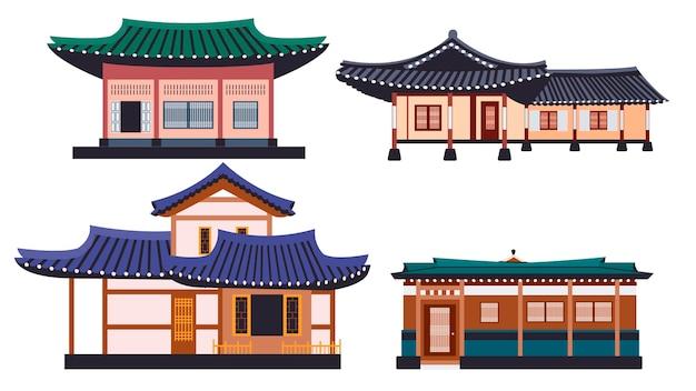 Insieme dell'illustrazione di vettore isolato edifici tradizionali di hanok