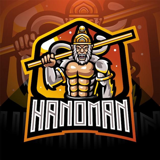 Hanoman esport logo design mascotte