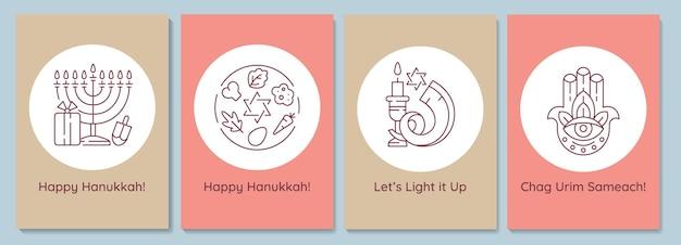 Hanukkah che celebra le cartoline con l'insieme dell'icona del glifo lineare. festa ebraica. biglietto di auguri con disegno vettoriale decorativo. poster in stile semplice con illustrazione creativa di lineart. volantino con augurio di vacanza