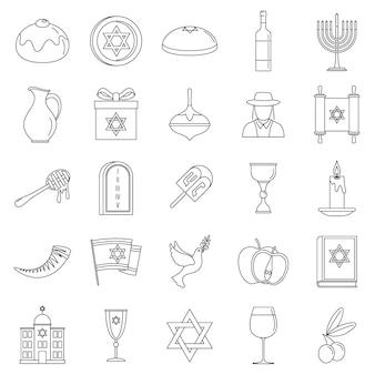 Set di icone di vacanza di hanukkah