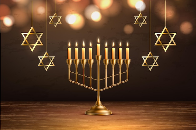 Hanukkah sfondo festa ebraica con candelabro realistico menorah d'oro con candele