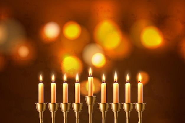 Sfondo festa ebraica di hanukkah con sette candele realistiche Vettore Premium