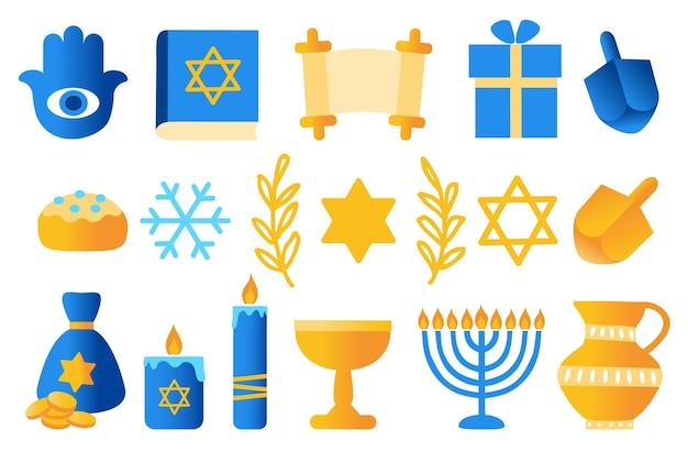 Insieme di vettore di festa ebrea di hanukkah simboli di hanukkah dreidels di legno ciambelle menorah candele