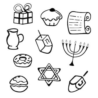 Hanukkah. un insieme di attributi tradizionali della menorah, dreidel, candele, olio d'oliva, torah, ciambelle in stile scarabocchio.