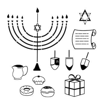 Hanukkah. un insieme di attributi tradizionali della menorah, dreidel, candele, olio d'oliva, torah, ciambelle. icone di linea.