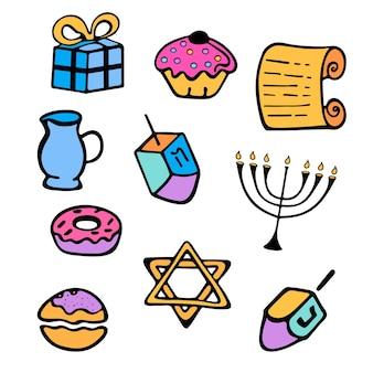 Hanukkah. un insieme di attributi tradizionali della menorah, dreidel, candele, torah, ciambelle in stile scarabocchio.