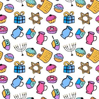 Hanukkah. un insieme di attributi tradizionali della menorah, dreidel, olio, torah, ciambella. modello senza cuciture in stile scarabocchio.