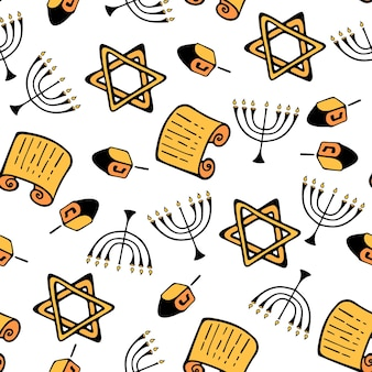 Hanukkah. un insieme di attributi tradizionali della menorah, dreidel, torah, stella di david. modello senza cuciture in stile scarabocchio