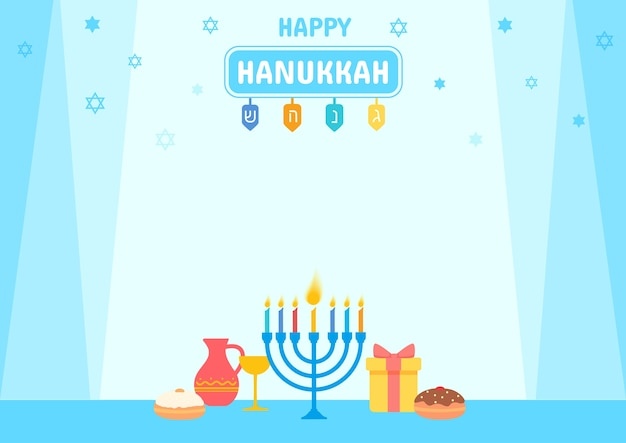 Hanukkah con menorah e simbolo