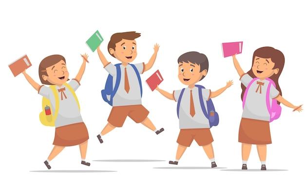 Happines degli studenti torna all'illustrazione di concetti della scuola