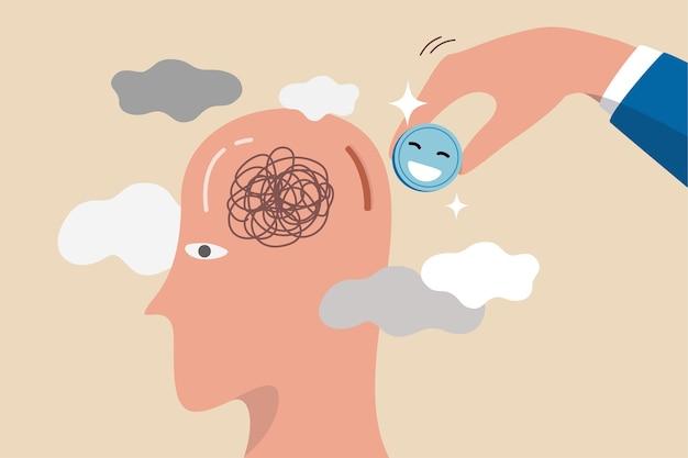 La felicità cura il lavoro stressato, cura la salute mentale o rilassati dal concetto di lavoro stanco, uomo d'affari che tiene una moneta rosa con la faccia della felicità da inserire nella testa del pensiero depresso per curare dallo stress.