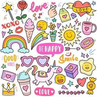 Felicità e gioia concetto astratto elementi grafici vettoriali colorati e illustrazioni scarabocchiate