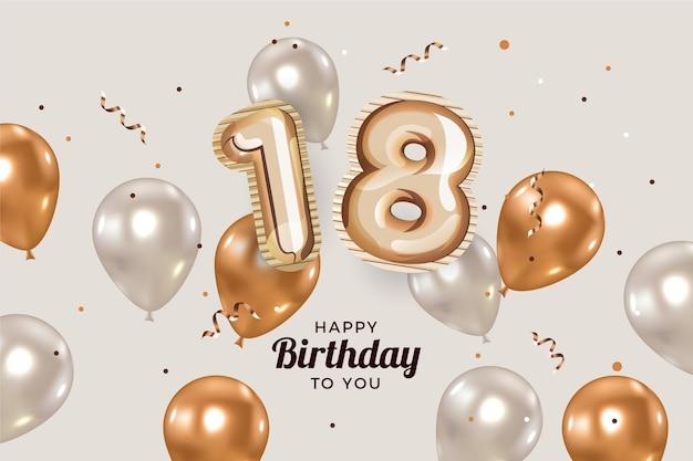 Felice diciottesimo compleanno sfondo con palloncini realistici