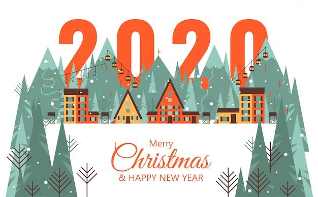 Felice anno nuovo 2020 card con città di montagna