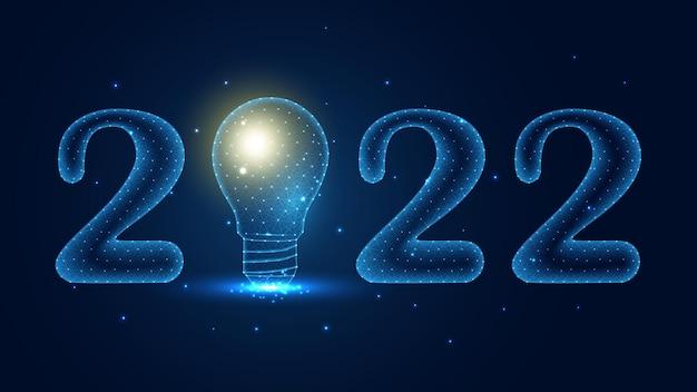 Felice 2022 felice anno nuovo con un collegamento alla linea di lampadine. design wireframe basso poli. fondo geometrico astratto. illustrazione vettoriale.