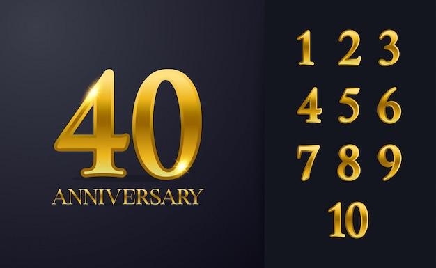 Modello di sfondo felice 40 ° anniversario. con colore nero e oro