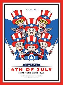 Felice 4 ° modello di poster del giorno dell'indipendenza degli stati uniti america con simpatico personaggio dei cartoni animati della mascotte dello zio sam