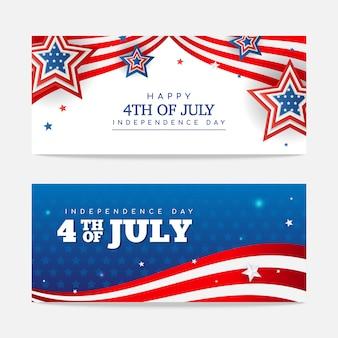 Felice 4 luglio set di banner. disegno vettoriale