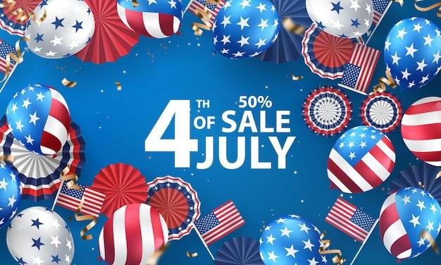 Felice banner per le vacanze del 4 luglio. priorità bassa di celebrazione del giorno dell'indipendenza degli stati uniti. vendita
