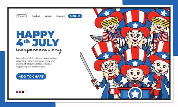 Felice giorno dell'indipendenza del 4 luglio del modello di pagina di destinazione degli stati uniti d'america con il simpatico personaggio dei cartoni animati di zio sam
