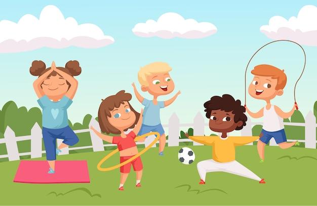 Personaggi felici per bambini attivi. attività all'aperto estiva - sfondo di infanzia
