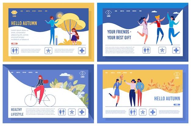 Set di modelli di landing page stile di vita felice e attivo