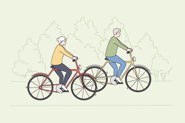 Felice stile di vita attivo del concetto di persone anziane