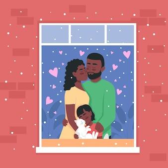 Felice famiglia afro-americana nell'illustrazione a colori della finestra di casa.