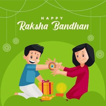 Felice modello di progettazione banner festival indiano aksha bandhan