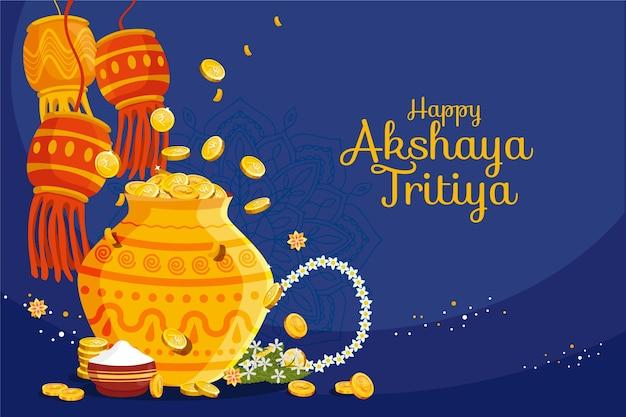 Happy akshaya tritiya candele nella notte