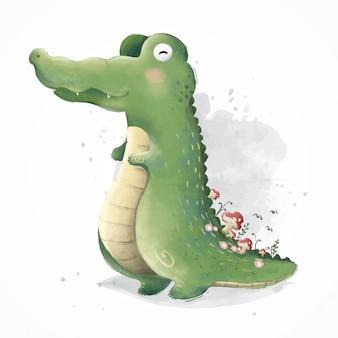 Alligatore felice che gioca da solo