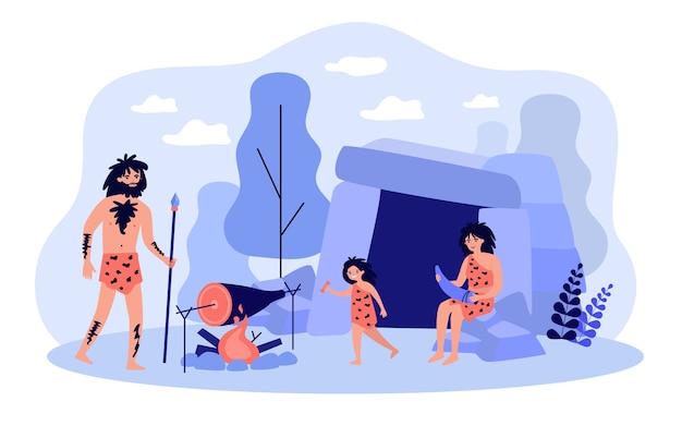 Famiglia antica felice che prepara l'illustrazione piana dell'alimento