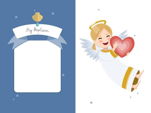 Angelo felice con cuore rosso. invito orizzontale di battesimo su invito di stelle e cielo blu.