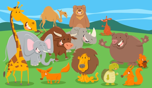Happy animal characters group in the wild