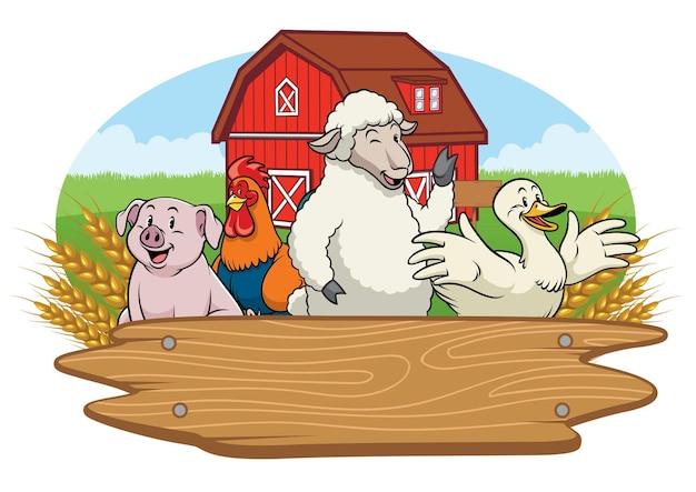 Animali felici nel cortile della fattoria con cartello in legno bianco