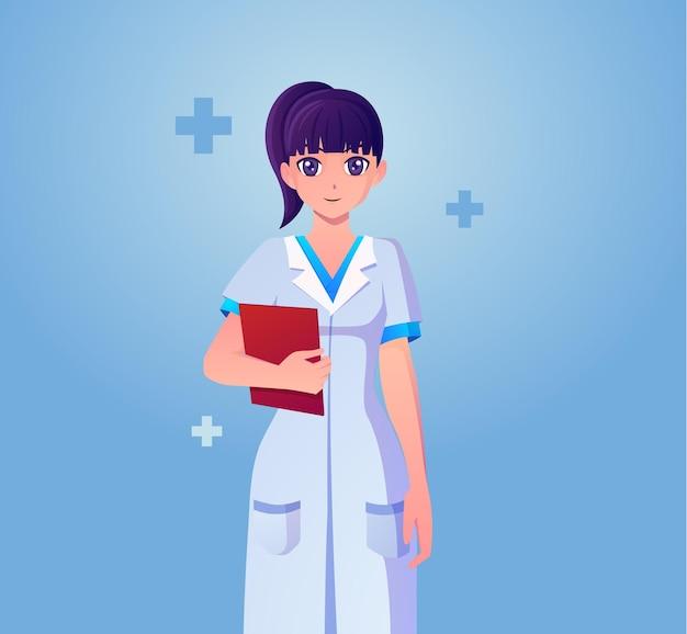 Felice anime carino femmina medico in possesso di una cartella