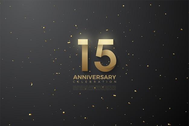 Buon anniversario 15 ° sfondo con numeri fianco a fianco con le stelle.