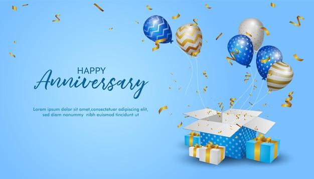 Buon anniversario bellissimo banner di sfondo anniversario e saluto con palloncini