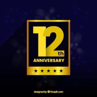 Carta di anniversario felice in stile dorato