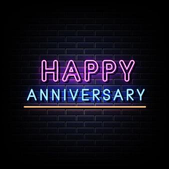 Simbolo del segno di vettore del testo al neon di buon anniversario