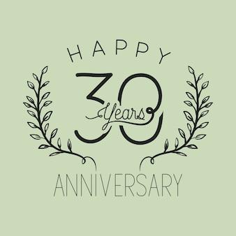 Felice anniversario numero trenta con corona corona