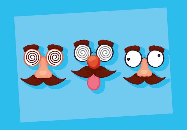 Illustrazione felice di giorno dei pesci d'aprile con le maschere pazze