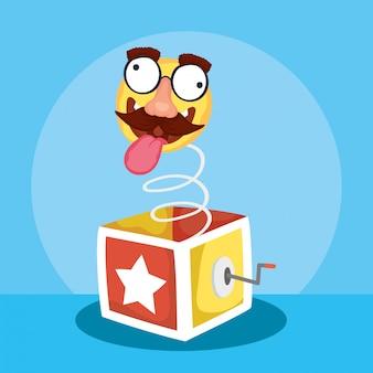 Illustrazione felice di giorno dei pesci d'aprile con la scatola di sorpresa e l'emoji pazzo