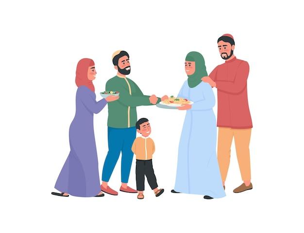 Famiglie arabe felici che si scambiano caratteri senza volto di colore piatto di cibo. celebrate insieme la festa religiosa. illustrazione del fumetto isolato ramadan
