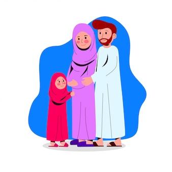 Illustrazione felice della famiglia araba