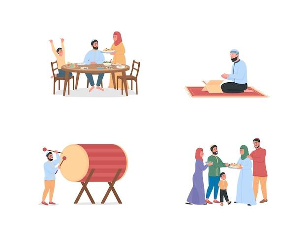 Gente araba felice sul carattere senza volto di colore piatto del ramadan