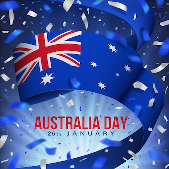 Felice giorno dell'australia 26 gennaio festivo design con bandiera, coriandoli, nastro