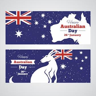 Happy australia day banners modello con mappa e canguro