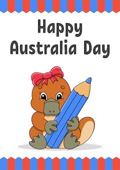 Cartolina d'auguri di felice giorno dell'australia con ornitorinco