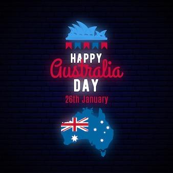 Insegna di saluto al neon di australia day felice.